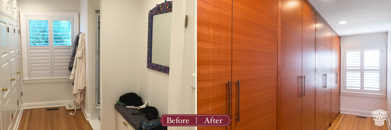 before and after master shower custom closet
