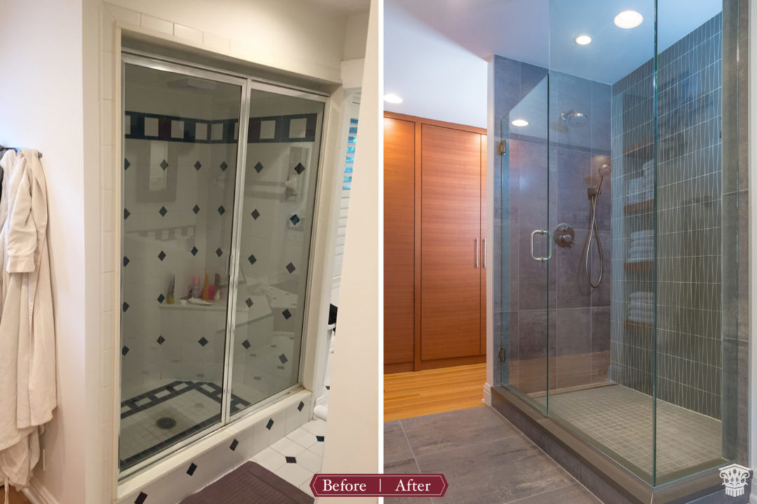 before and after master suite frameless shower