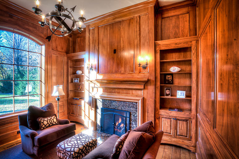 Walnut Stained, wood paneled library, new build