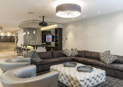 Rejuvenated Modern Basement Bar and TV/Game Lounge