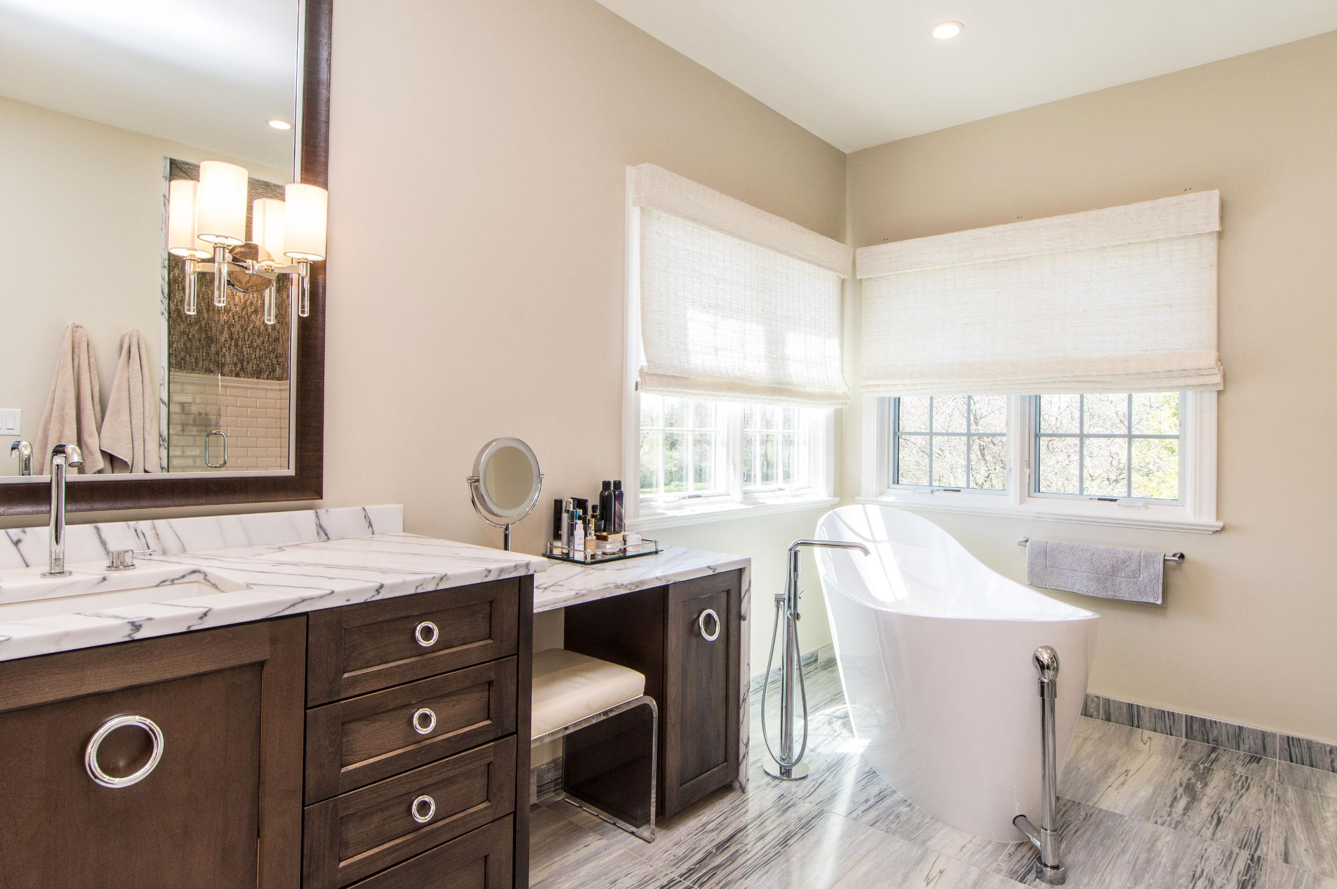 modern master bath remodel cabinet detail