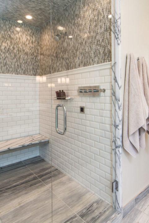 modern master bath remodel shower detail