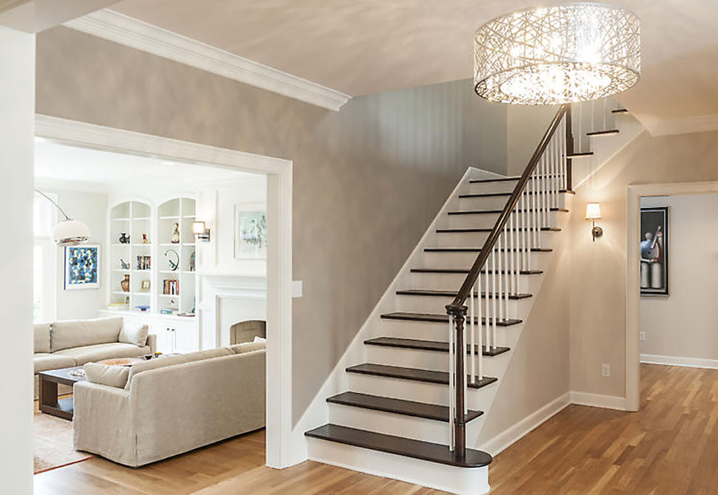 white painted stairs with wood treds