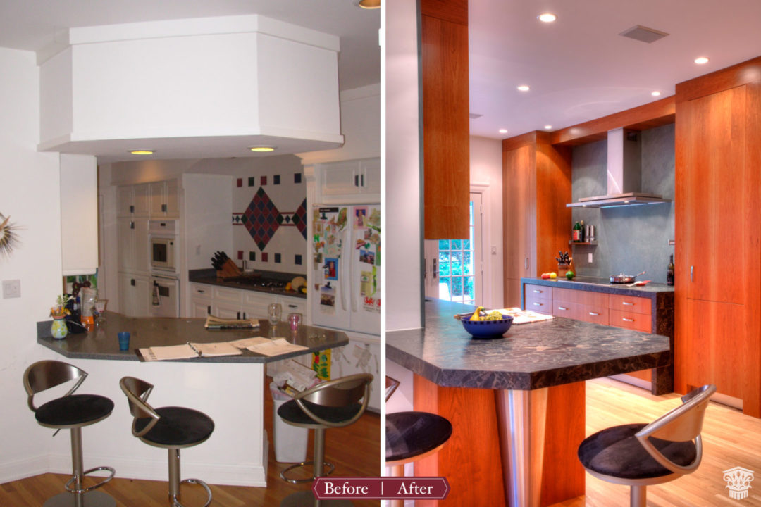 eat in peninsula, kitchen table extension, bar stool seating, black granite countertops, custom cherry cabinetry