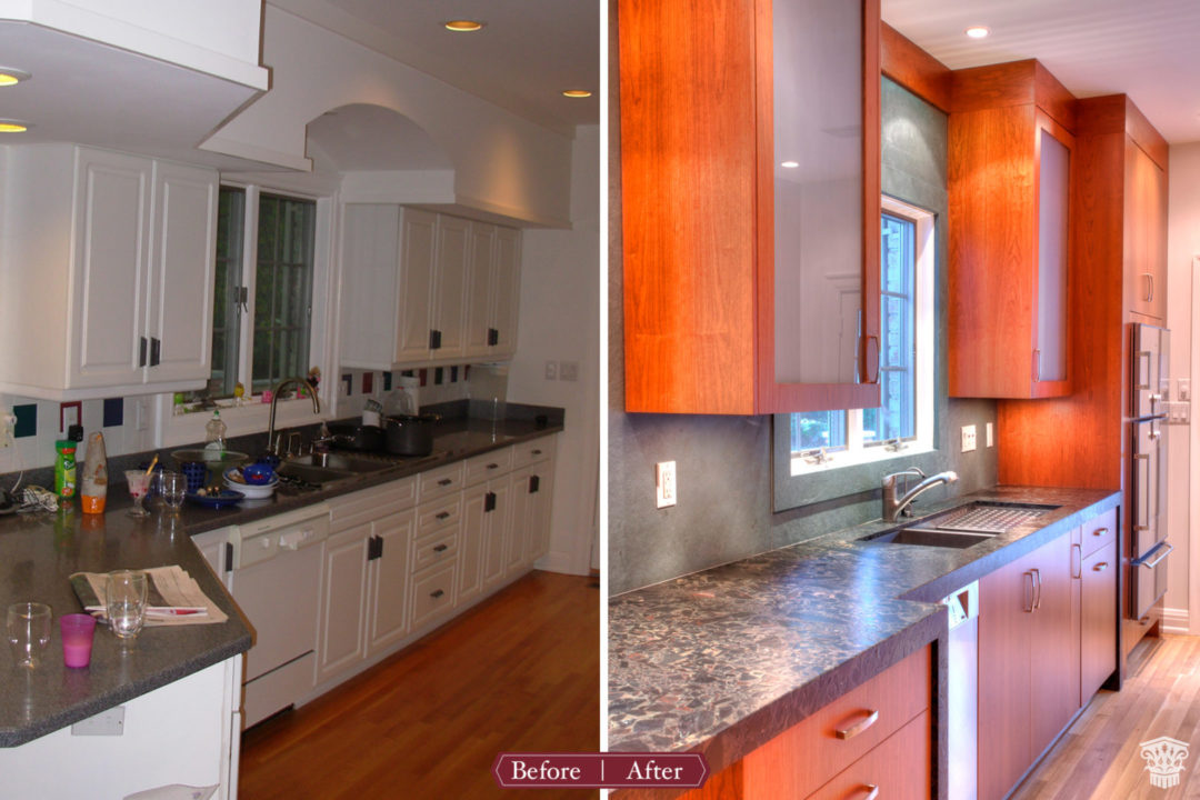 custom Cherry cabinetry, slab cabinet doors, cherry kitchen cabinets, glass cabinet fronts, frosted glass cabinets, full overlay cabinetry