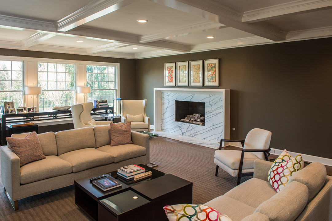 family room with White Soapstone Marble Fireplace Front