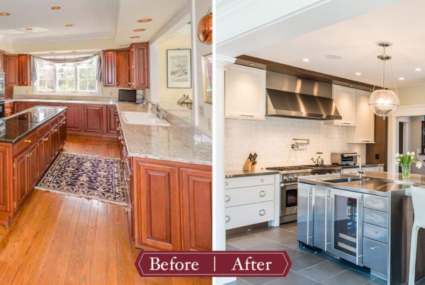 Modern kitchen remodel before and after