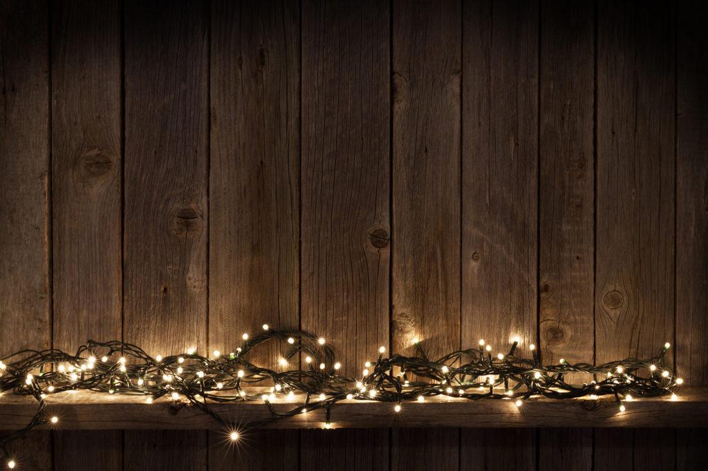 holiday lighting on mantel
