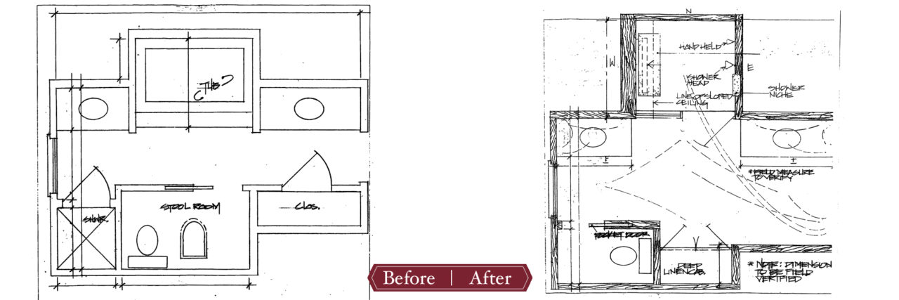 before and after master bathroom plan