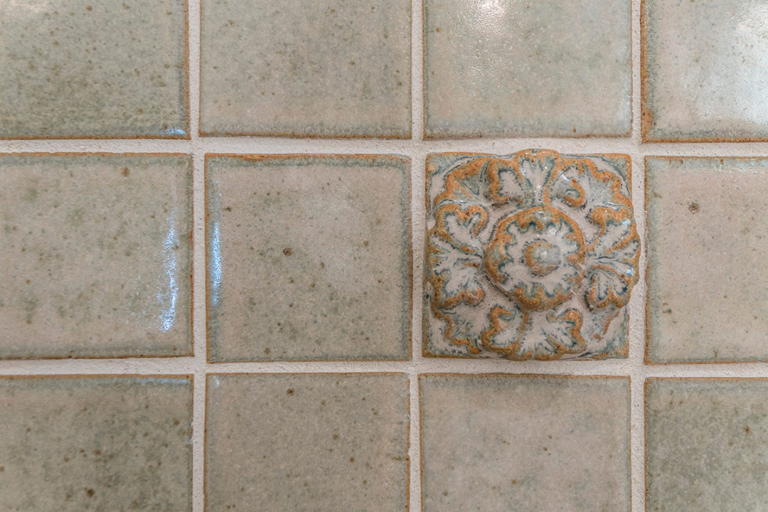 "Ontario 2x2 Mosaic in Bone Matte Finish, 6x6 Grammercy Park Field Tile with China Crackle in Bone Finish, 2x2 Antiquity Mosaic Tile in Beige, and 2"" Antiquity Camelia accent tiles in beige, Hexagon Tile: Antiquity 5.5 "" Bali Hexagon"
