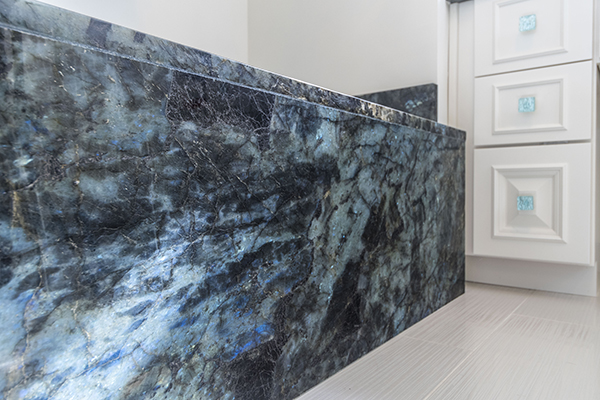 Aphrodite Extra Labradorite Granite Countertop, Granite tub surround,