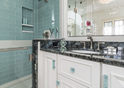 Luxurious White and Teal Glass Master Bathroom