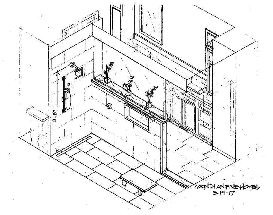 master bathroom tile layout drawing