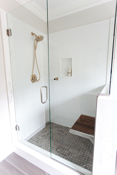 Indianapolis Guest Bath Remodel - Shower with built in seat