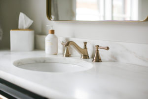 Indianapolis Guest Bath Remodel - French brass fixtures, Marble Countertops