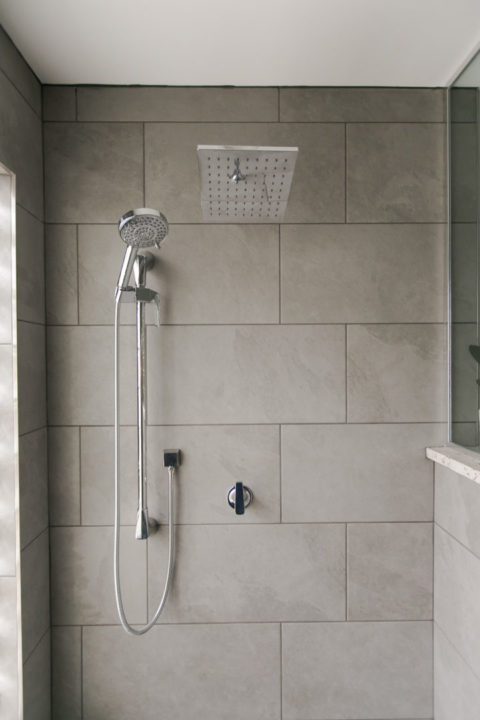 Bathroom Floor: Caesar Slab 12x24 tile color is Silver (Porcelain) Shower floor: 12x24 Stone Peak Sky tile, color: cloudsky (Porcelain) Shower Walls: Caesar Slab 12x24 tile color is Silver
