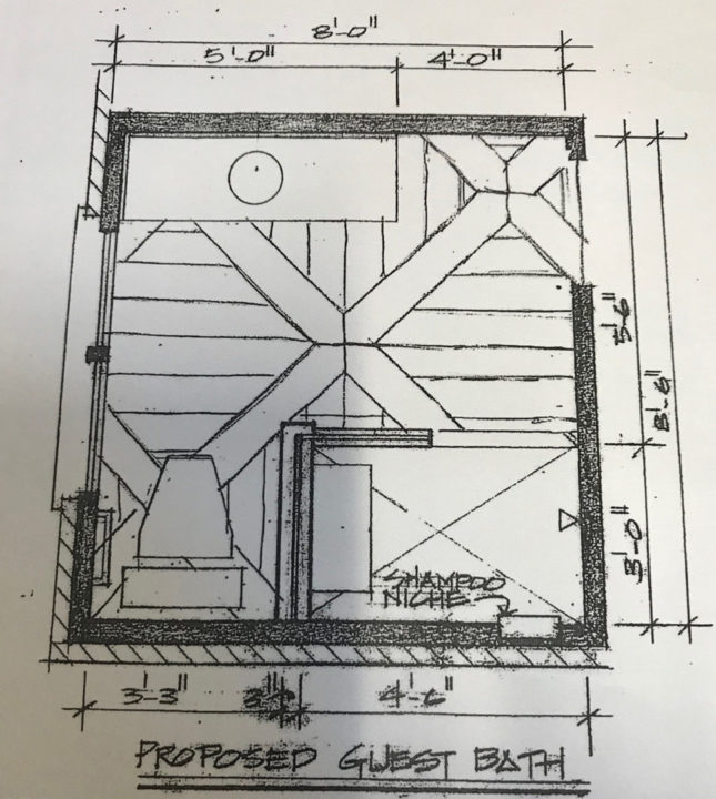 Architectural drawing of full guest bath for in-law suite