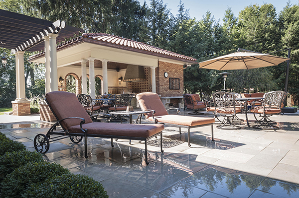 Pool Deck with Pergola and Outdoor Kitchen