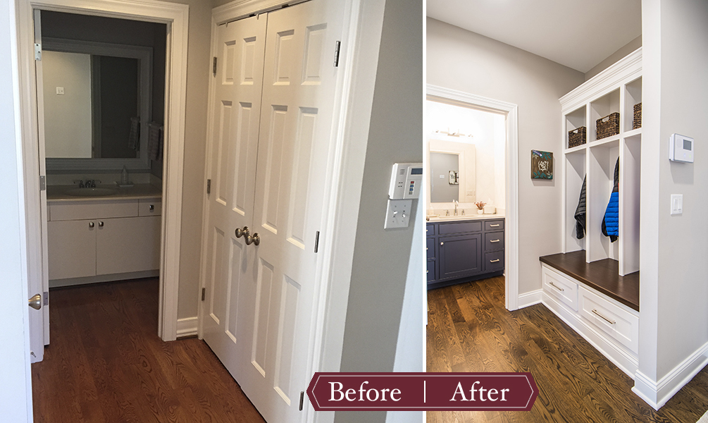 Remodeling Before and After - Powder Bath and Mud Room
