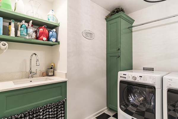 Modern Country Laundry Room With Farm Sink