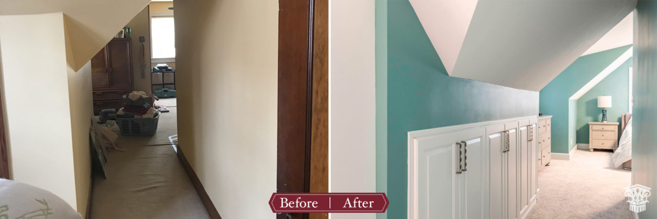 Master hallway and shoe storage before and after