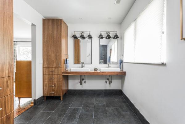 Master suite bathroom sink, Vero Single handle faucets in master bath, • Bottle trap exposed plumbing under floating vanity