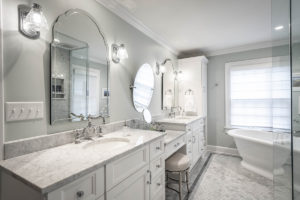 Master Bathroom Vanity and Freestanding Tub, Marble Countertops