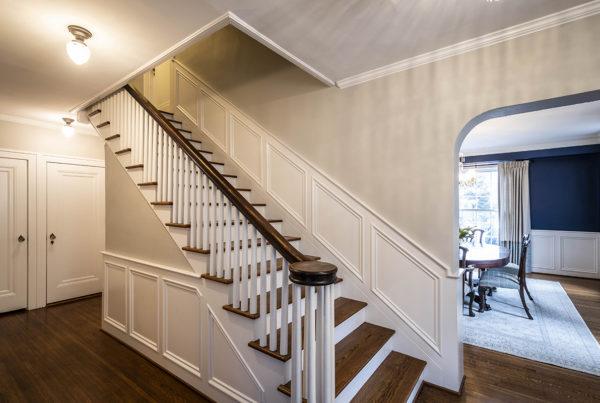 stairs remodel, custom white wainscoting