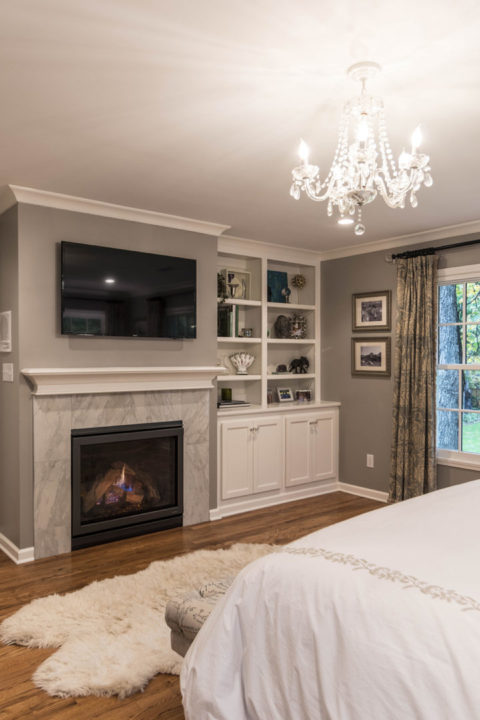 Master bedroom remodel with fireplace detail and custom built ins