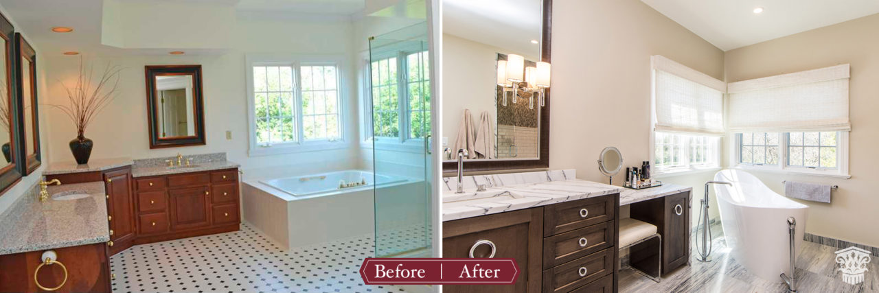 before and after modern master bath
