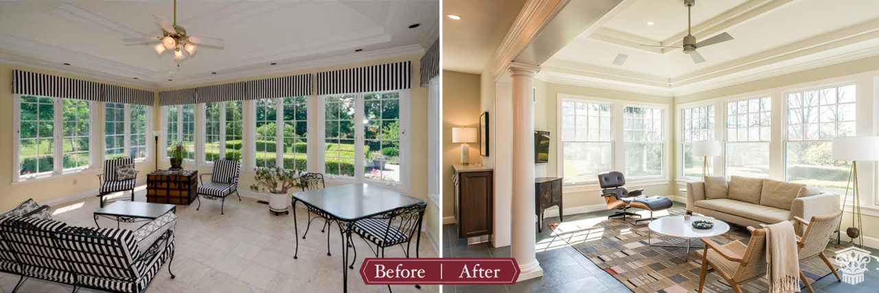 before and after modern sunroom remodel