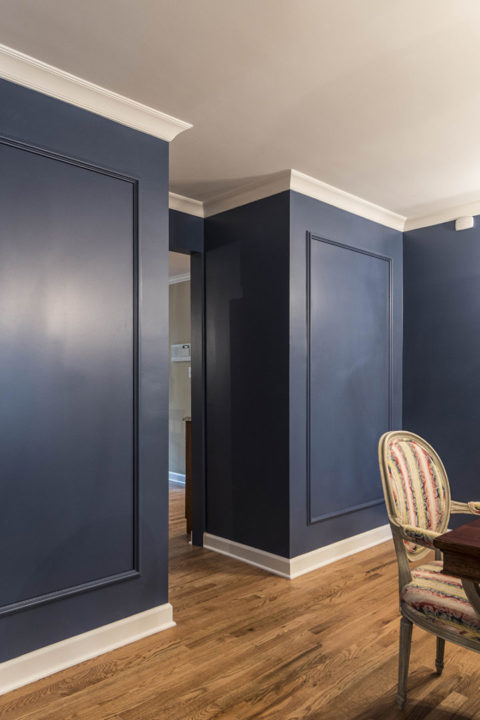dining room midnight blue custom built ins for dish storage