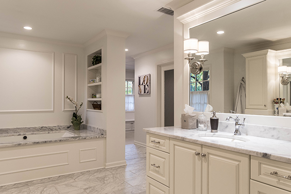 master bath remodel white and gray