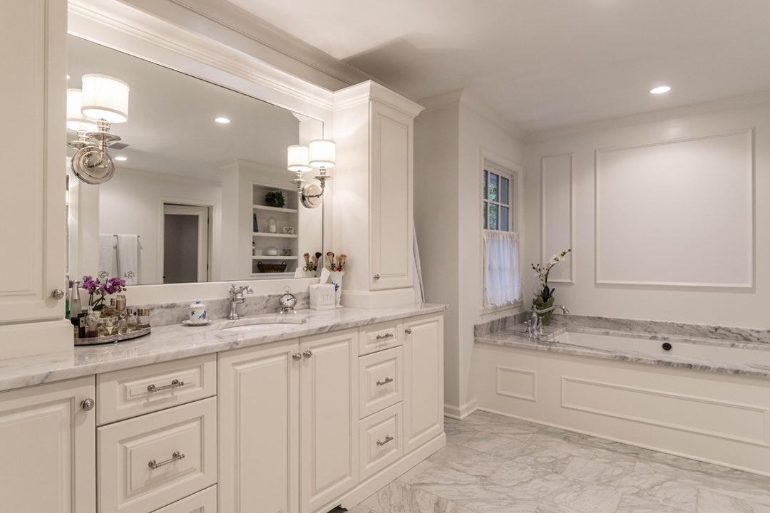 master bath remodel gray and white