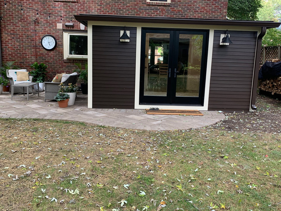 Mudroom, patio, concrete pavers, curved patio, vaulted ceiling, storage options, french doors