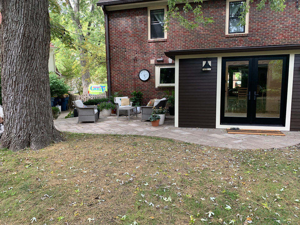 Mudroom, patio, concrete pavers, curved patio, french doors