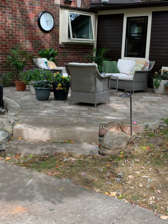 Mudroom, patio, concrete pavers, curved patio