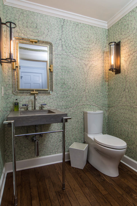 wall paper powder bath guest bathroom