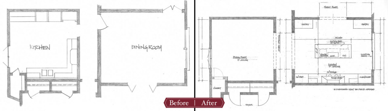 before and after floor plan kitchen and dining room