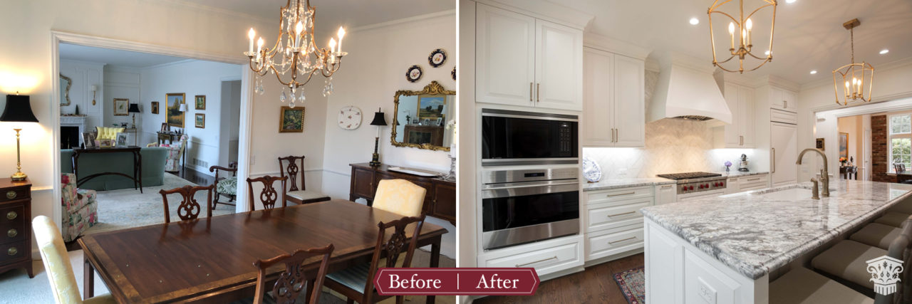 kitchen to dining room swap before and after