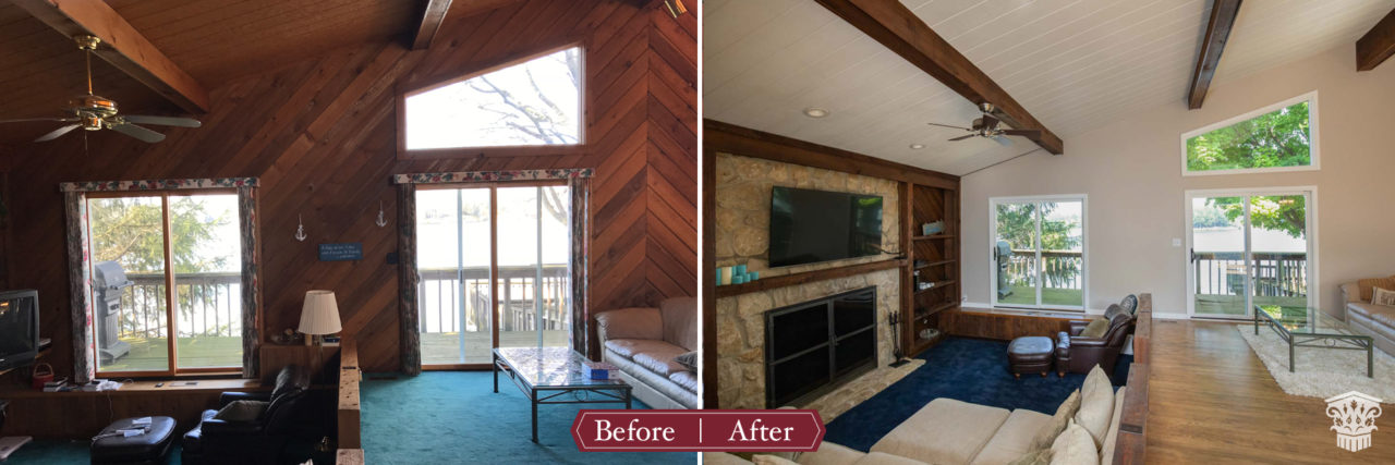 sunken family room before and after