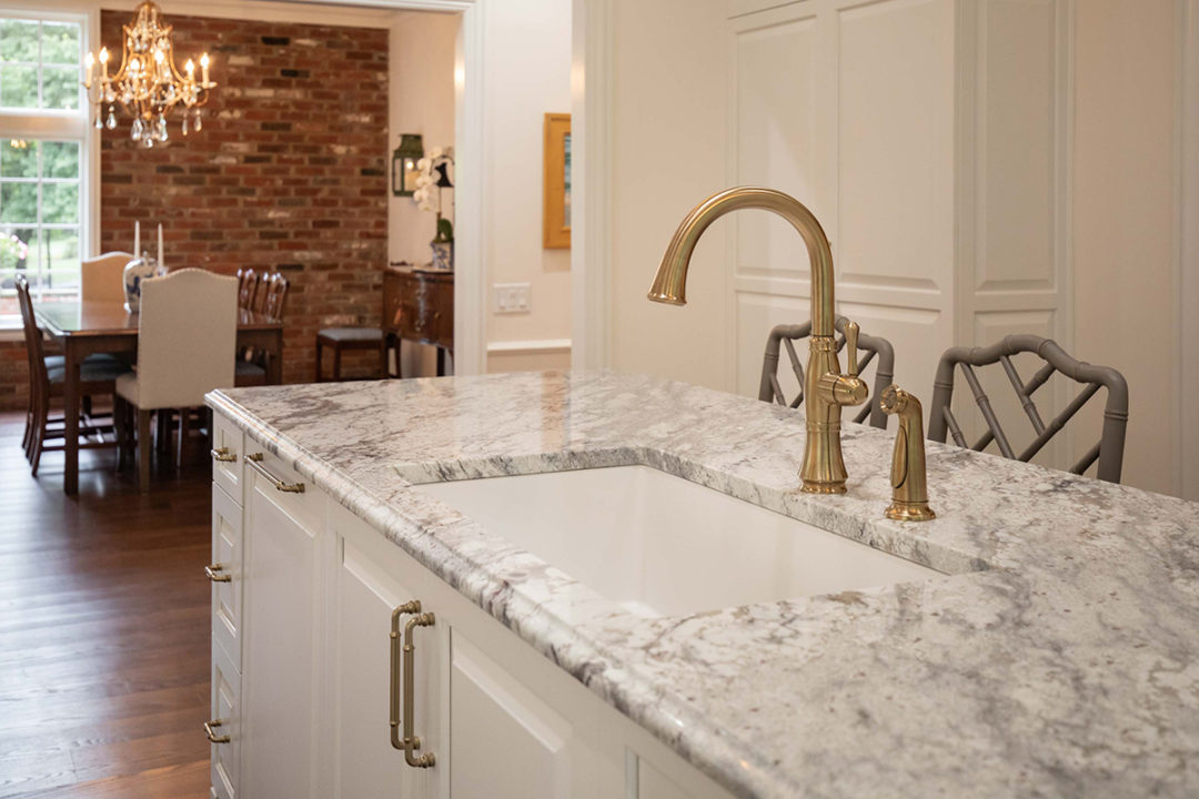 Delta Plumbing Fixtures, Champagne Bronze Plumbing fixtures, Elkay Single Bowl Sink, White Single bowl kitchen sink