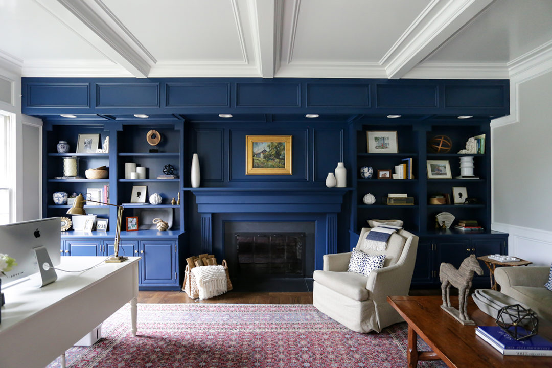 custom built in cabinets, fireplace surround, blue painted fireplace