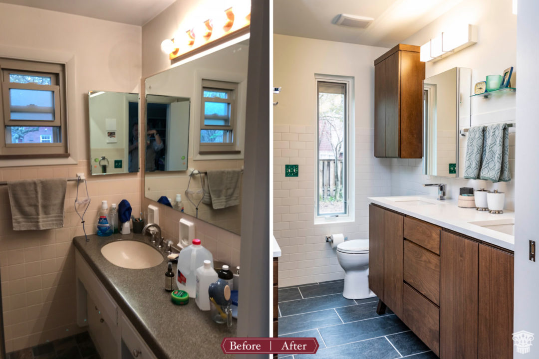 Master bathroom vanity before and after