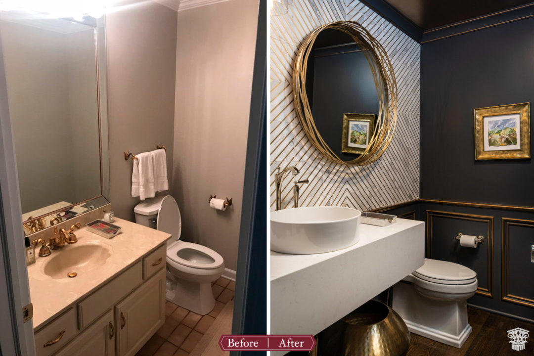 Formal powder bath before and after