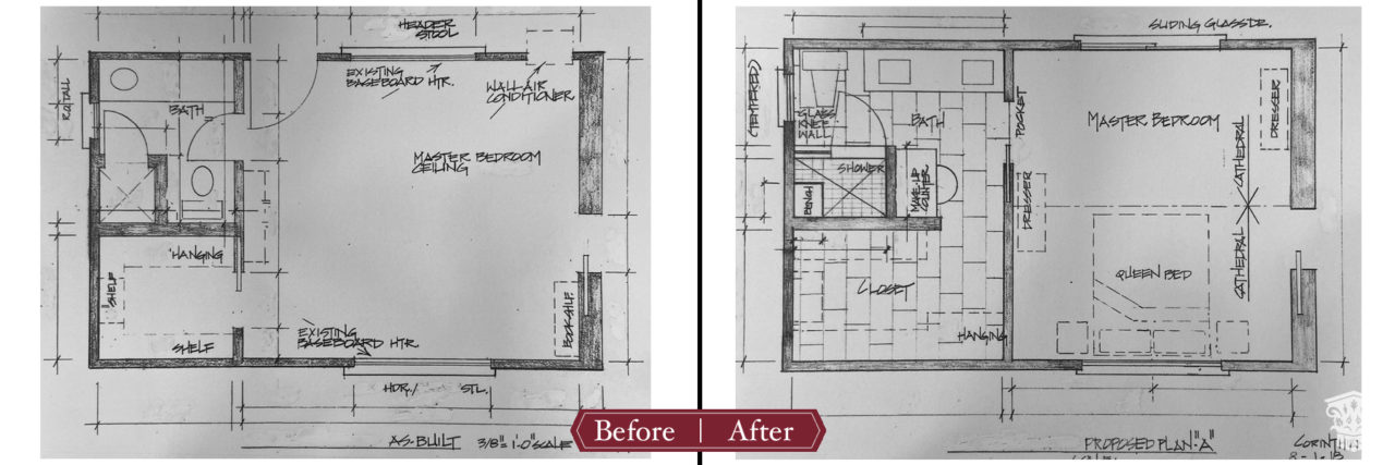 Master suite floor plan before and after