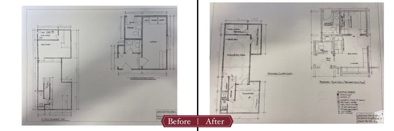 Floor plan before and after