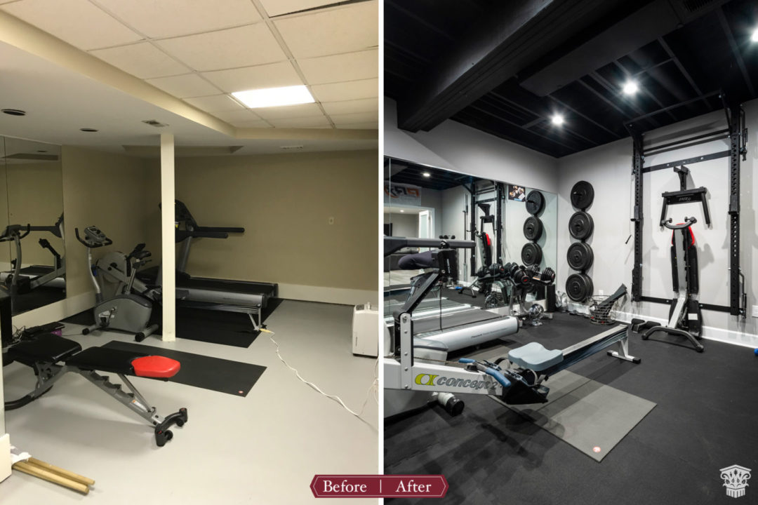 exercise room before and after
