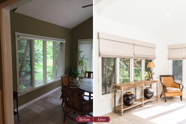 sunroom remodel before and after