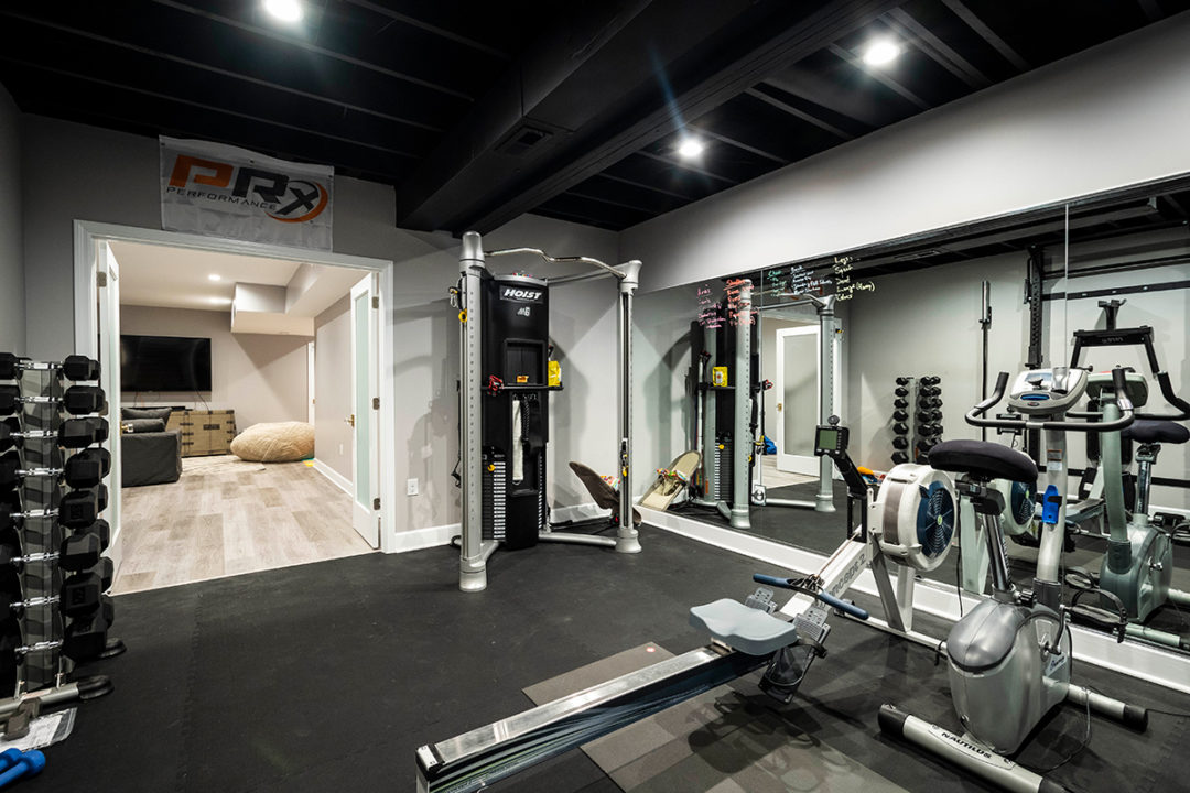 Black Rubber Floor Tiles, full length mirrors, exercise room